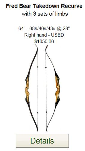 Fred Bear Takedown Recurve - Used - 64-3 sets of limbs