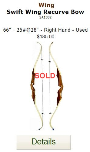 Wing Swift Wing Recurve Bow 1882 - Used - 66-25